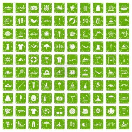 Illustration pour 100 icônes d'été dans un style grunge couleur verte isolé sur fond blanc illustration vectorielle - image libre de droit