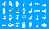 Hand object icon blue set vector