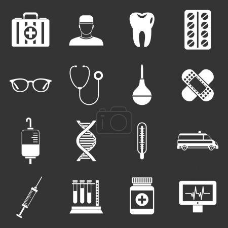 Medicine icons set vector white isolated on grey b...