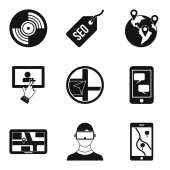 Gamesmanship icons set simple style