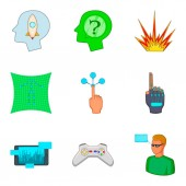 Game show icons set cartoon style