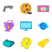 Network game icons set cartoon style