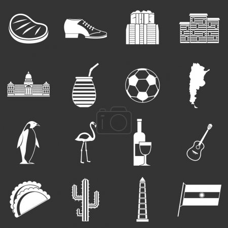 Illustration for Argentina travel items icons set vector white isolated on grey background - Royalty Free Image