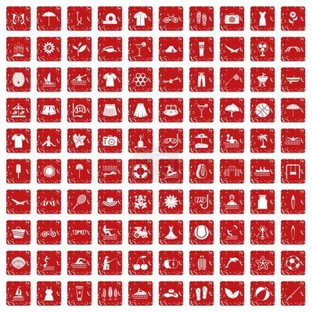 Illustration pour 100 icônes d'été dans un style grunge couleur rouge isolé sur fond blanc illustration vectorielle - image libre de droit