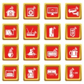 Smart home icons set red square vector