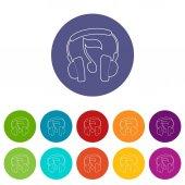 Earphones icons set vector color