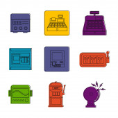 Electric device icon set color outline style