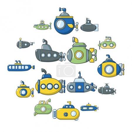 Submarine icons set, cartoon style