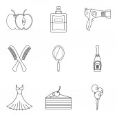 Elegancy lady icons set outline style