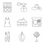 Living well icons set outline style