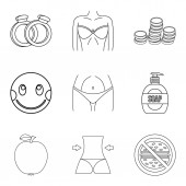 Gracefulness icons set outline style