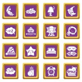 Sleeping icons set purple square vector