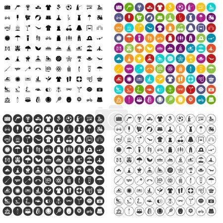 Illustration pour 100 icônes d'été ensemble vecteur en 4 variante pour tout design web isolé sur blanc - image libre de droit