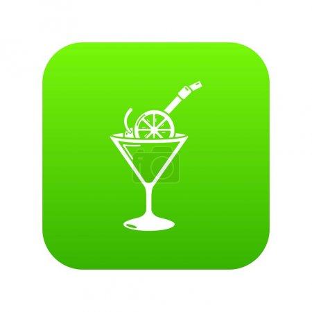 Cocktail icon green vector