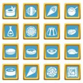 Japan food icons set sapphirine square vector