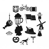 Germany icons set simple style