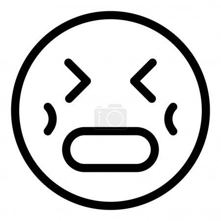 Stress emoji icon, outline style