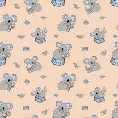 Cute bear koala doodle seamless pattern Vector background with koalas can be used for baby textile tshirt wallpapers posters and more