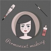 Vector set of equipment for permanent make-up Used for icons on the site business cards