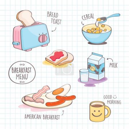 Colourful doodle style Breakfast. Vector set of Breakfast menu.