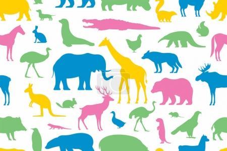 Illustration pour Motif avec différents animaux dans un style plat sur fond blanc - image libre de droit