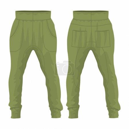 Illustration pour Pantalon de survêtement militaire homme. Vue avant et arrière sur fond blanc - image libre de droit