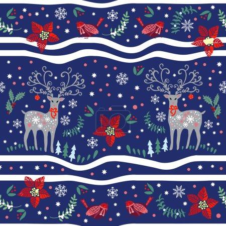 Christmas deers and birds