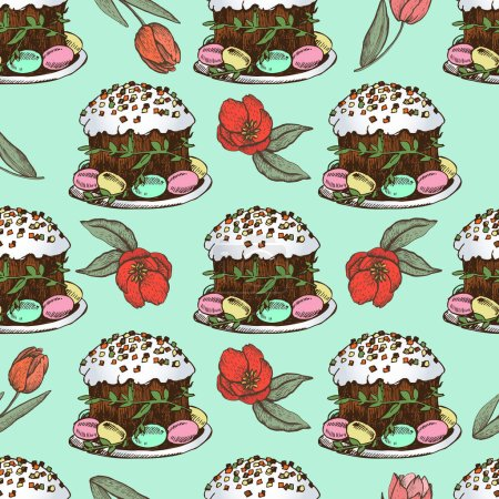 Spring Easter seamless with cakes.