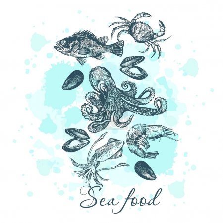 Graphic card with sea food