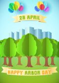 Arbor day illustration with forest and city over blue background Template for Greeting Card Poster and Banner Happy Arbor Day Paper style