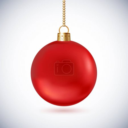 Red frosted Christmas ball with gold chain, isolated on white ba