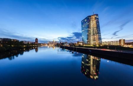 Evening riverside view of Frankfurt