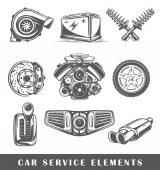 Set of elements of the car service