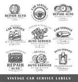 Set of vintage car service labels