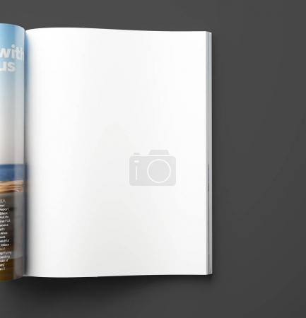blank magazine page on black background