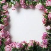"""Постер, картина, фотообои """"красивые розовые розы цветы в виде кадра, изолированные на белом фоне"""""""