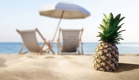 ripe tropical pineapple on sandy beach, vacation concept