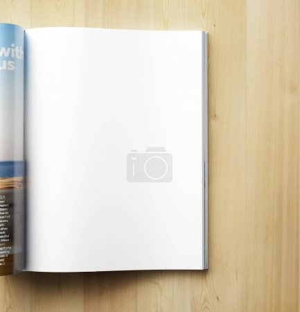 blank magazine page on wooden background
