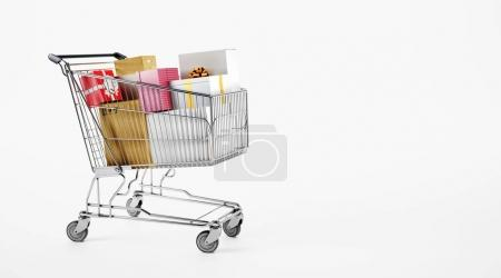 metal shopping cart with gift boxes