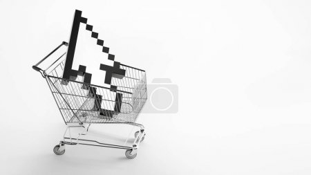 metal shopping cart with white arrow cursor