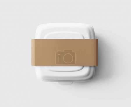 white lunchbox on table, 3D rendering