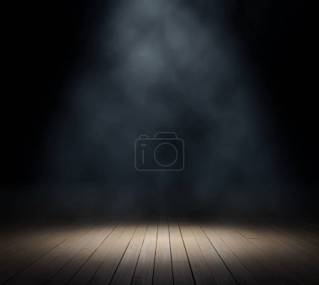 Central lighting of wooden scene on black background
