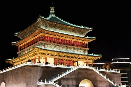 Bell Tower of Xi'an, located in the heart of downtown Xi'an, Chi