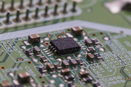 Photo for Printed circuit Board with chips and radio components electronics - Royalty Free Image