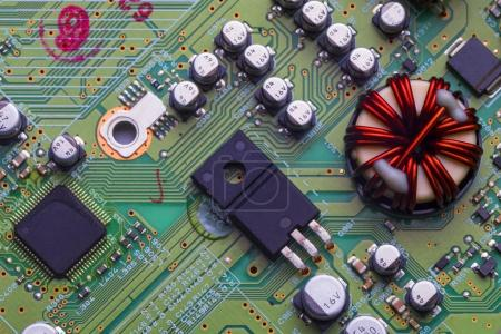 Photo for Printed circuit Board with chips and radio components electronic - Royalty Free Image