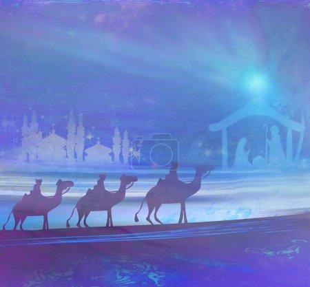 Photo pour Scène biblique - la naissance de Jésus à Bethléem. - image libre de droit