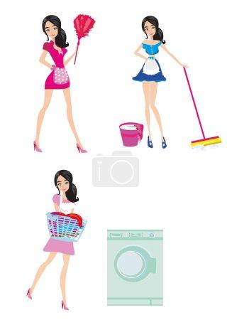 Illustration pour Sexy style pinup femme de ménage française au travail - Set - image libre de droit