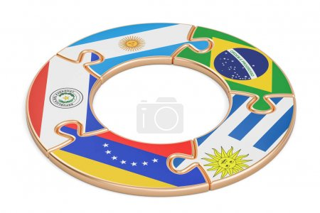 Mercosur concept, 3D rendering isolated on white b...
