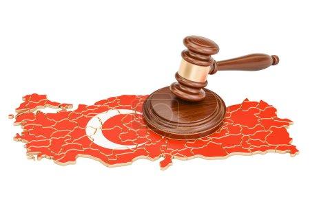 Wooden Gavel on map of Turkey, 3D rendering isolat...