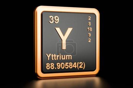 Photo pour Yttrium Y, élément chimique. rendu 3D isolé sur fond noir - image libre de droit